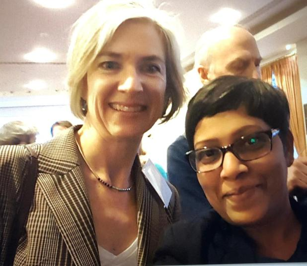 Picture of Doudna with the author of the article.