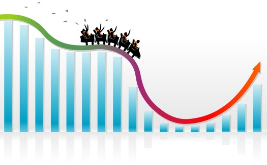 Rollercoaster on a stock market graph