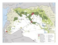 A map of Islamic State territory in Iraq and Syria.