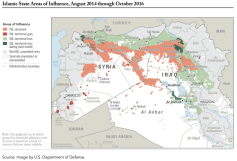 A map of Iraq and Syria showing Islamic State territory.