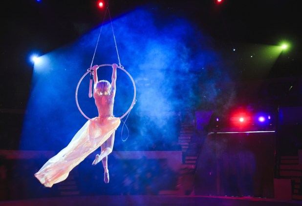 Woman acrobat performing at circus