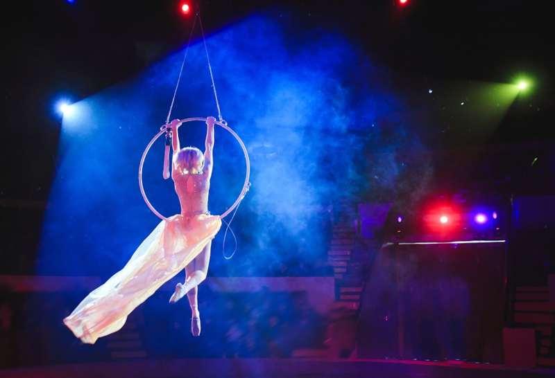 Woman acrobat performing at circus