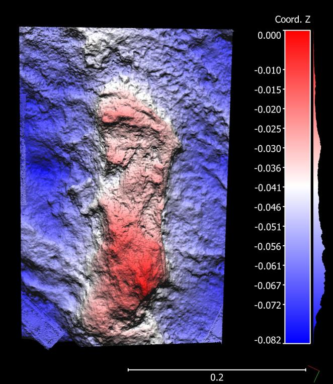 A footprint is highlighted in red against a blue backdrop