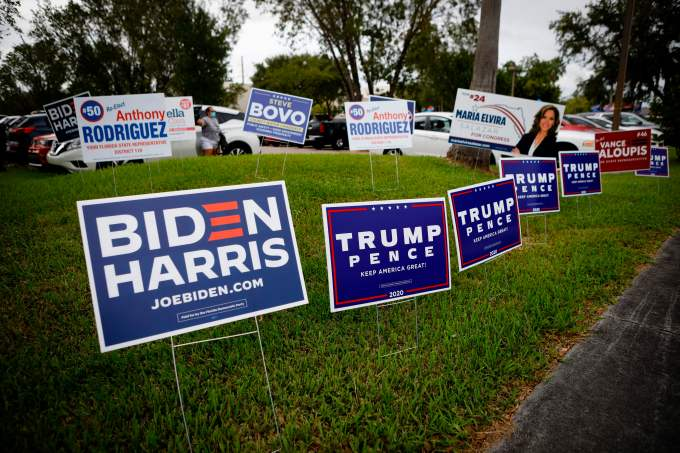 Campaign signs on a lawn.