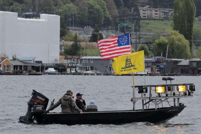 A boat flies the Gadsden