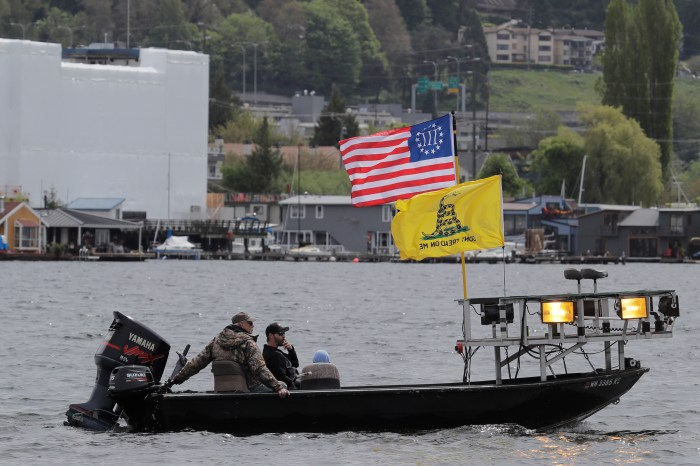 A boat flies the Gadsden