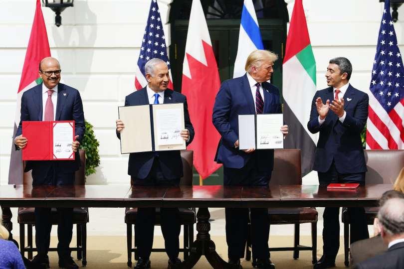 Sheikh Khalid Bin Ahmed Al-Khalifa Benjamin Netanyahu Donald Trump and Sheikh Abdullah bin Zayed bin Sultan Al Nahyan
