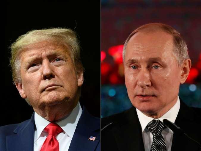 Headshots of Presidents Trump and Putin.