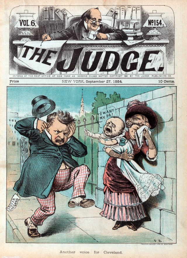 A baby cries 'I want my pa!' in a political cartoon mocking Grover Cleveland.