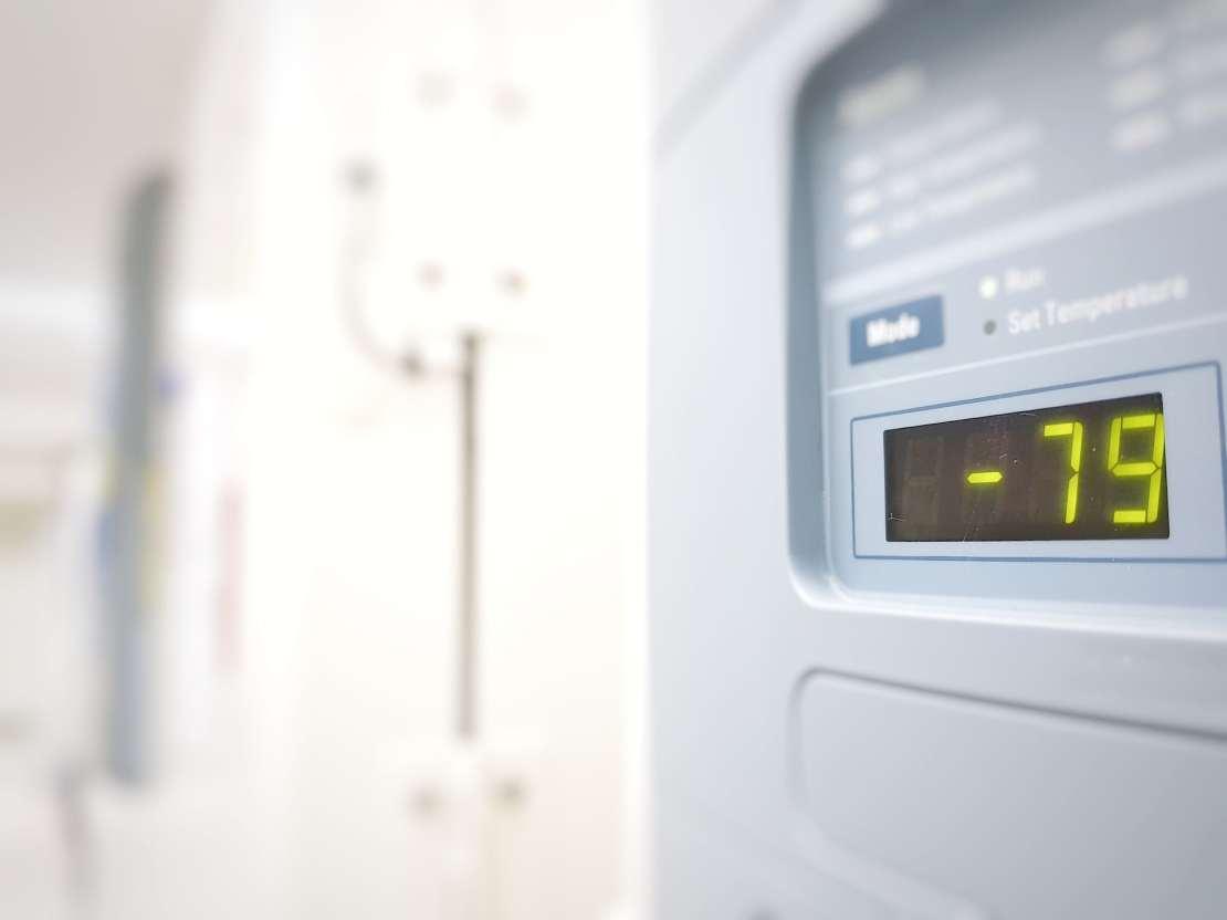 A freezer control panel showing -79C.