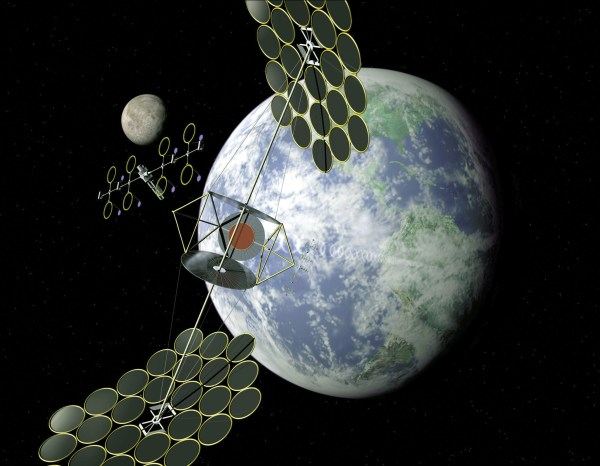 Artist's conceptions of a solar power satellite, dubbed the Integrated Symmetrical Concentrator SPS concept.