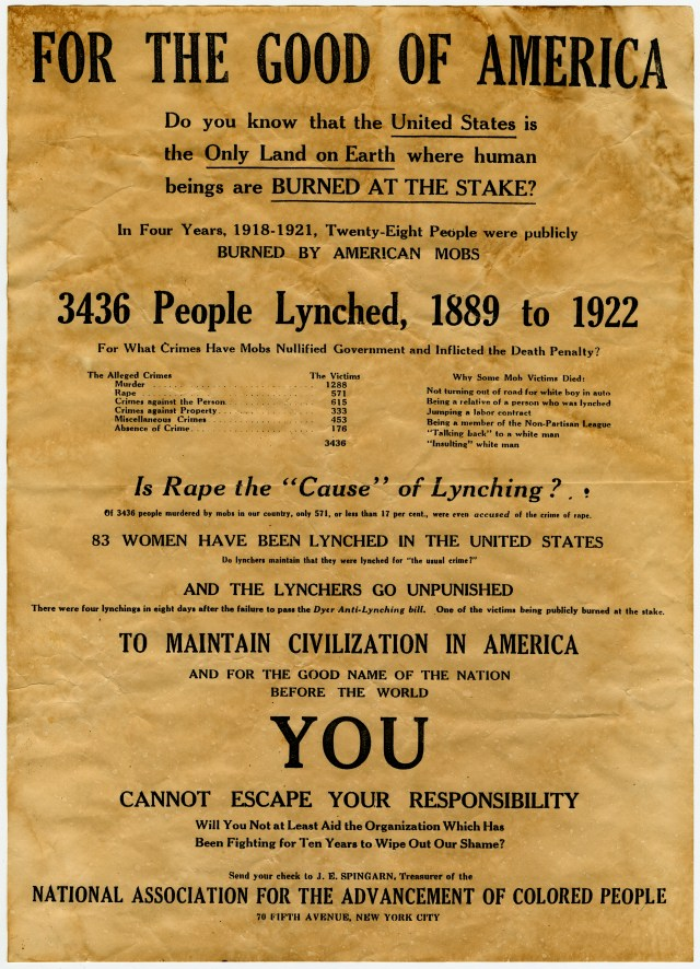 An old NAACP poster calls attention to 3,436 people lynched between 1889 and 1922.