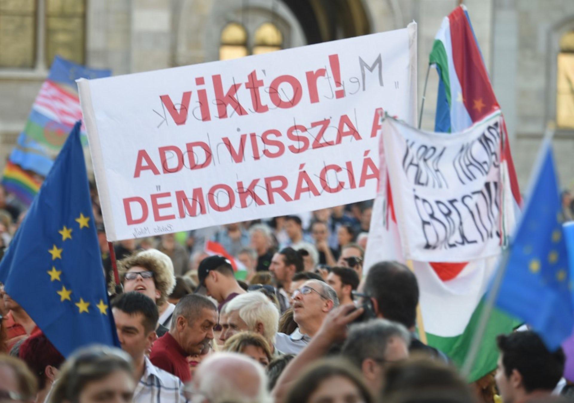 Manifestation pour la démocratie en Hongrie, avril 2018