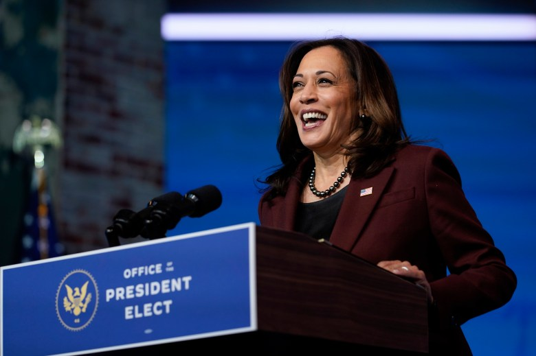Vice President-elect Kamala Harris speaks in Wilmington, Del,, on Nov. 24.