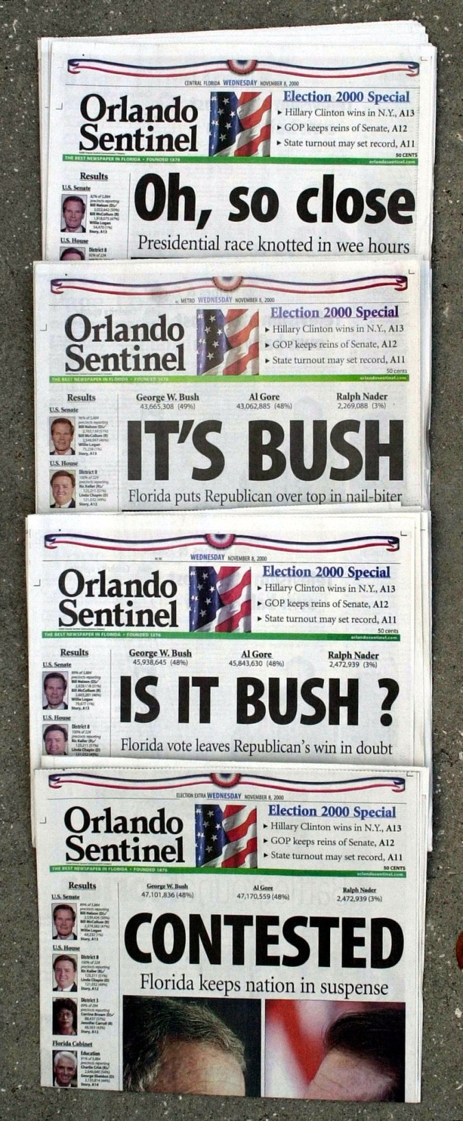 A series of Florida newspapers with headlines saying it wasn't clear who won the 2000 election.