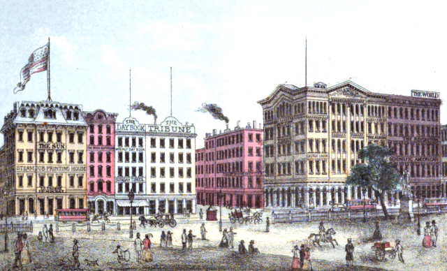 Newspaper headquarter buildings on Printing House Square in New York City, 1868.