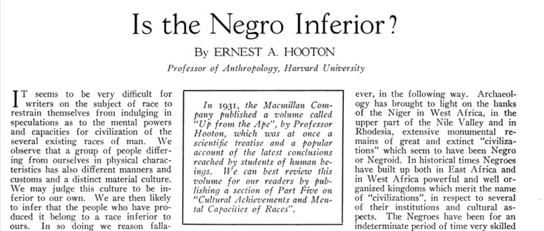 Article headlined 'Is the Negro Inferior?'