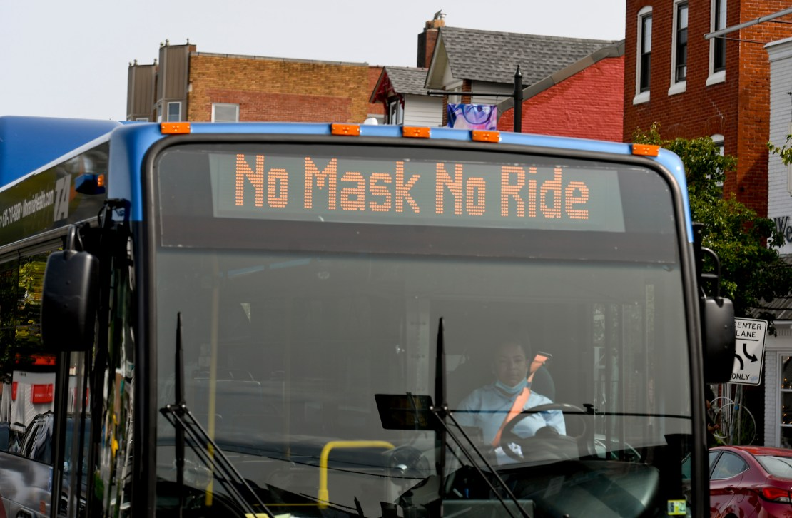 A bus in West Reading, PA, with the message 'No Masks No Ride' displayed on its digital sign.