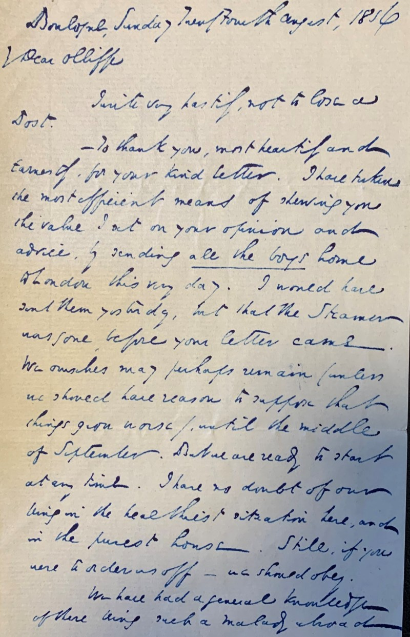 Imagen de una carta escrita por Charles Dickens