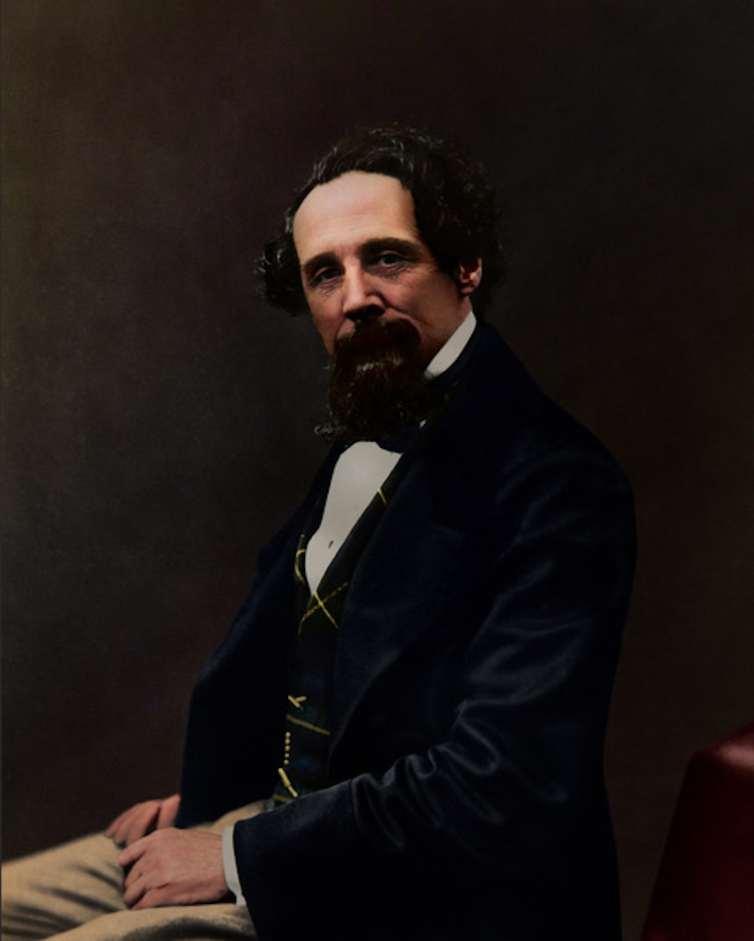 Retrato en color de Charles Dickens.