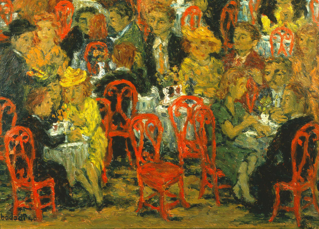 A painting of a cafe with tables and people closely packed together.