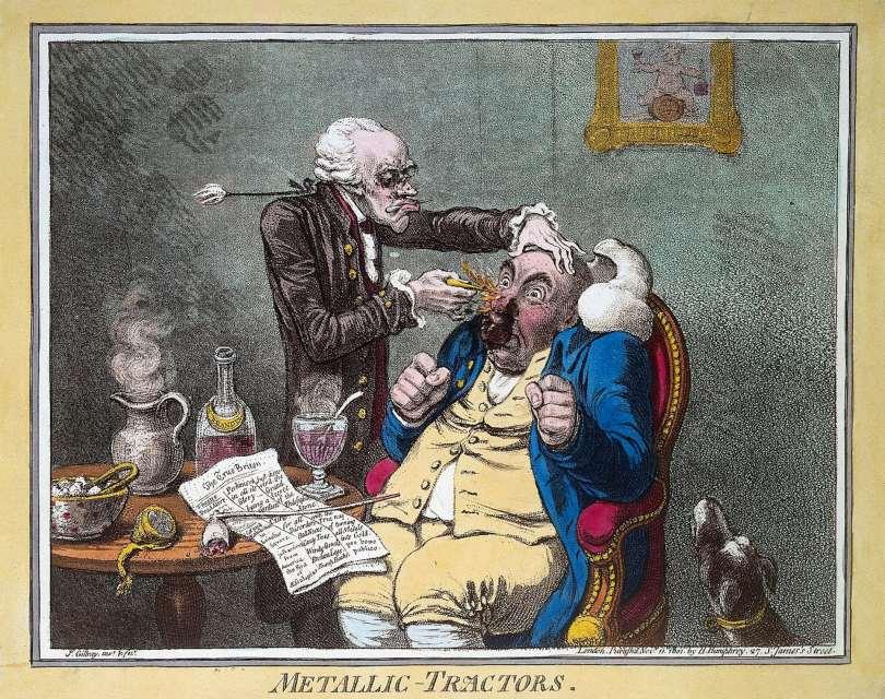 Cartoon of a quack treating a patient with Perkins Patent Tractors.