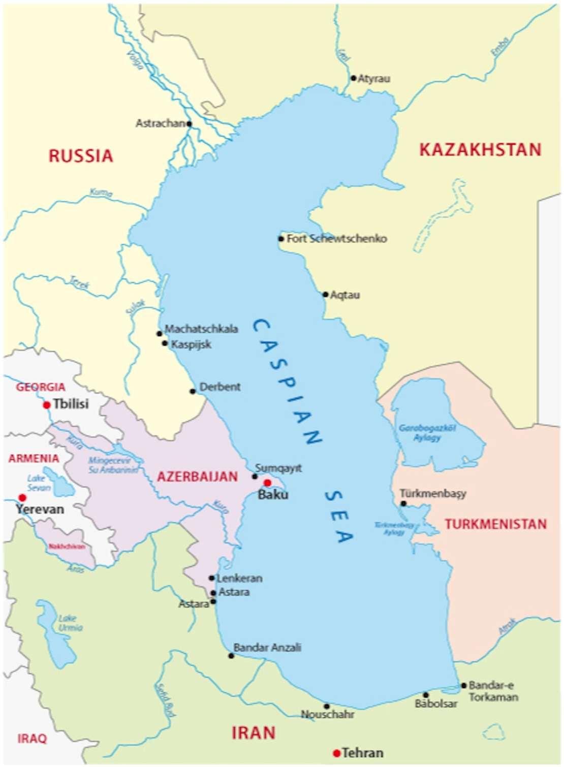 Map of the Caspian Sea.