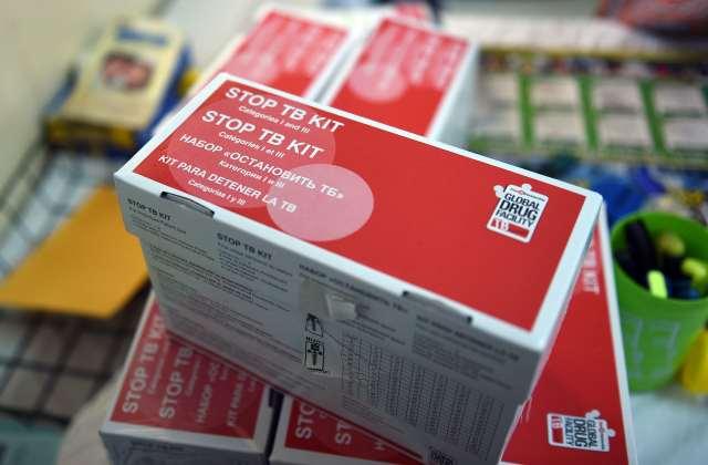 TB medicine sits on a shelf.