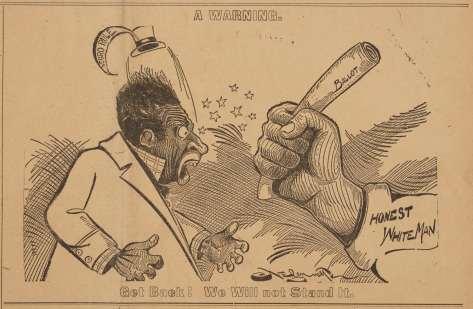 A white fist holding a bat, about to strike a Black man in an 1898 political cartoon.