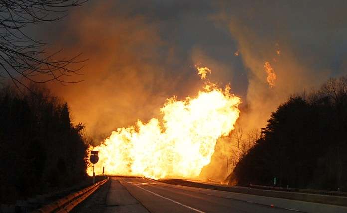 Flames on the interstate highway.