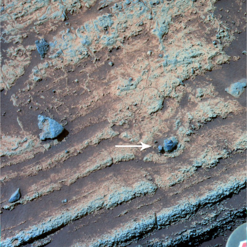 A small crater on Mars.