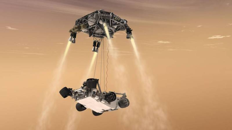The Curiosity rover lowered to Mars.