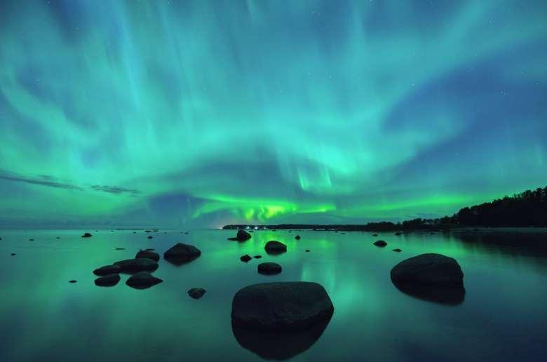 Aurora borealis over the Gulf of Finland.