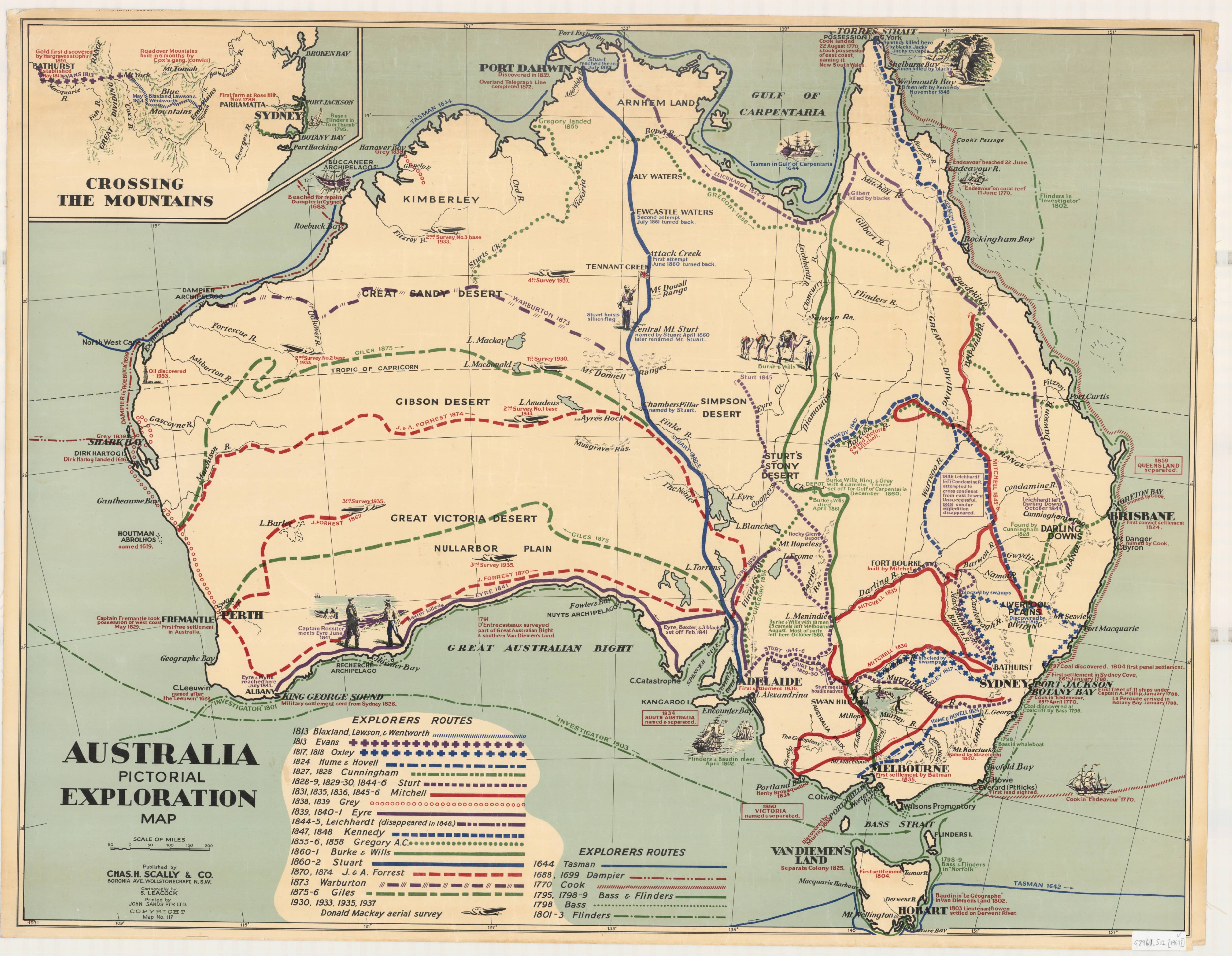 An old map showing routes across Australia.