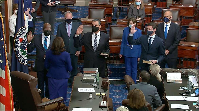 Raphael Warnock is sworn in as a U.S. senator