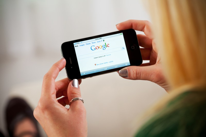 Woman searching Google