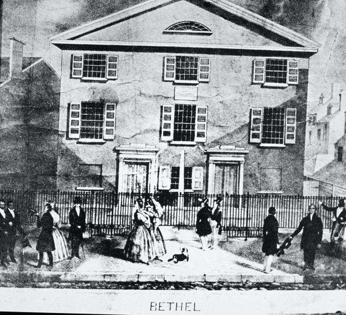An engraving of Mother Bethel African Methodist Episcopal Church