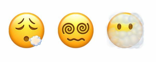 Three emojis, one blowing out air, one with spiral eyes, one in clouds