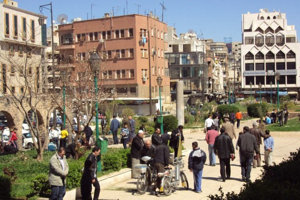 The  busy city centre of Homs before the fighting began.