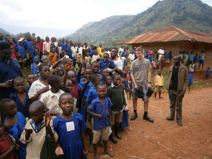 Residents of a village near Mount Elgon National Park in Uganda