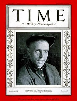 Black and white image of a man on Time magazine.