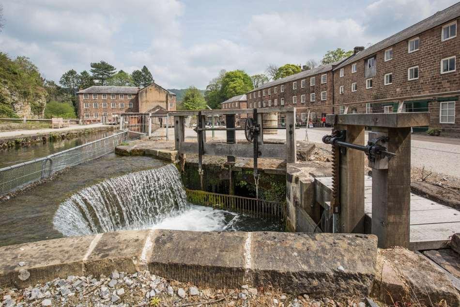 Waterways at Arkwright's Mill, Cromford, Derbyshire.
