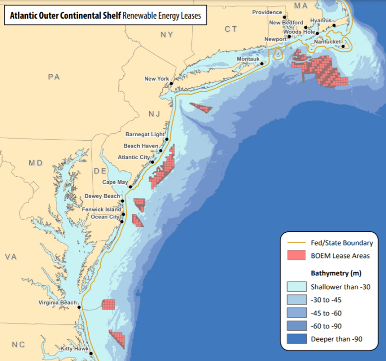 Map showing lease areas off U.S. Atlantic Coast, from Virginia to Massachusetts