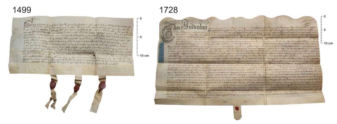 Two deeds written on sheepskin parchment.
