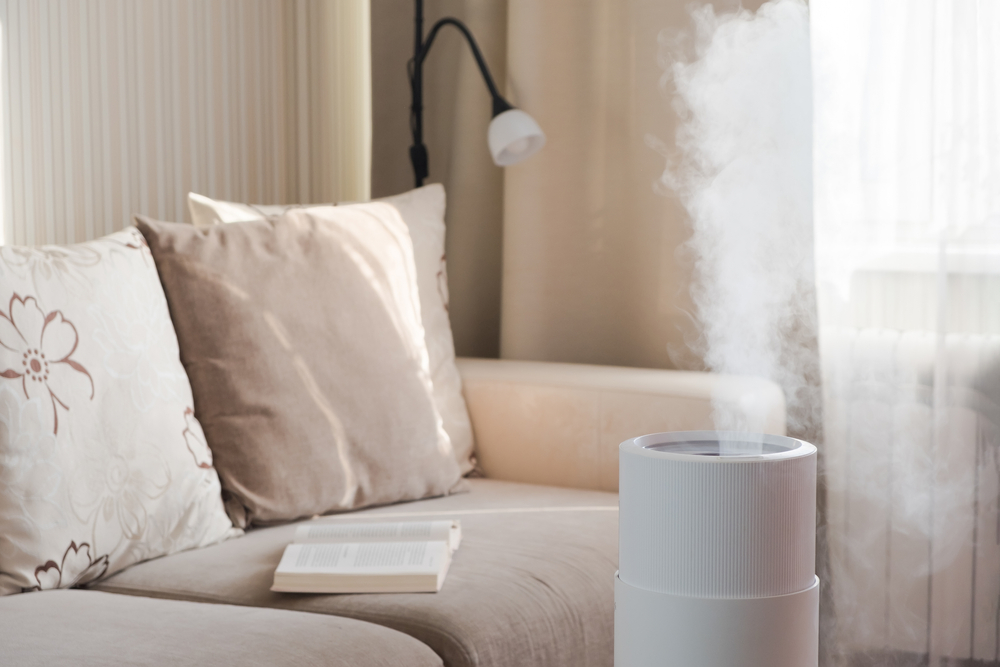 A humidifier in a room