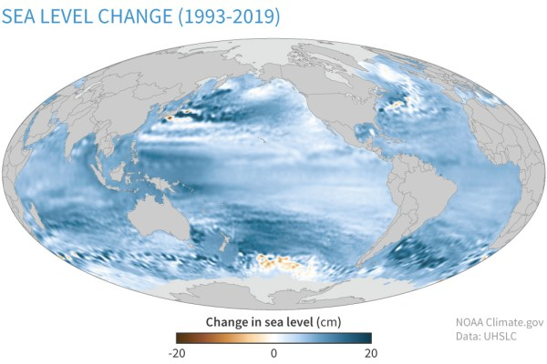 Changes in sea level around the world, 1993-2019