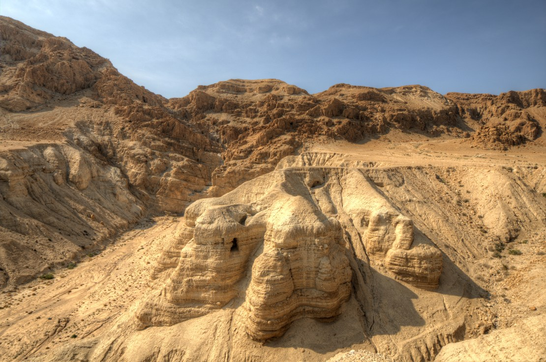 One of the caves in which the scrolls were found at the ruins of Khirbet Qumran in the desert of Israel.
