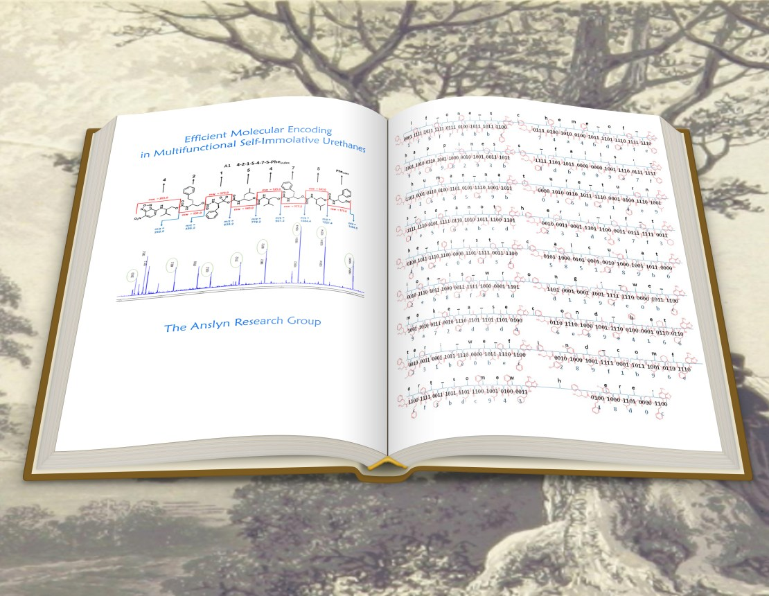 An image of a book showing a quote from Jane Austen's Mansfield Park written across 18 molecules.