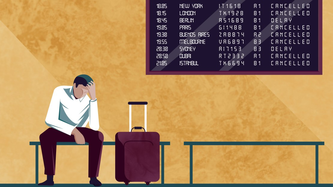 A cartoon of a man sat with a suitcase under an airport departures board.
