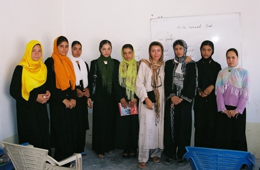 A group of Afghan middle school girls
